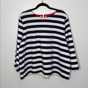 Tommy Hilfiger stripped 7/8 sleeved top size XXL